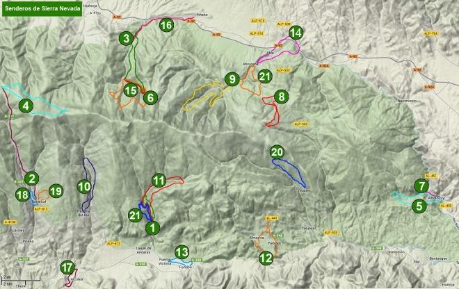 Mapa de senderos de Sierra Nevada