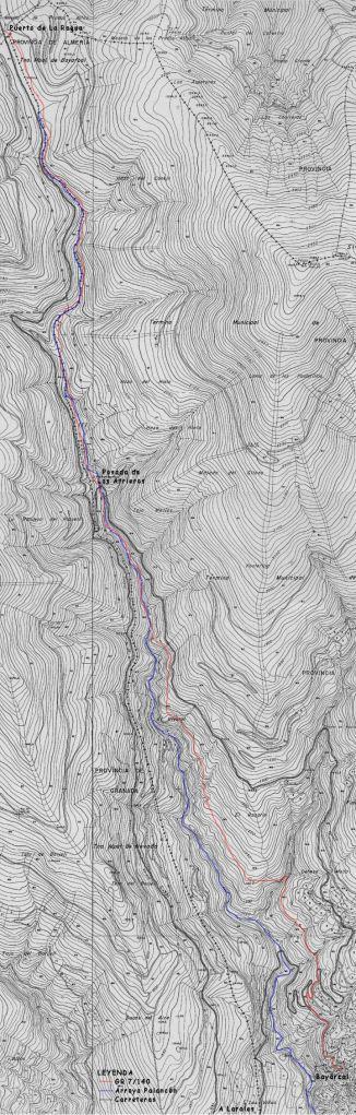 Mapa del sendero de Bayárcal a la Ragua