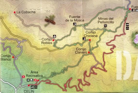 Mapa de senderos de Dalias