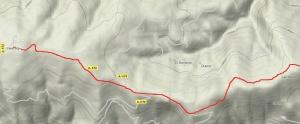 Mapa del primer tramo de la ruta Calar Alto a Tetica de Bacares
