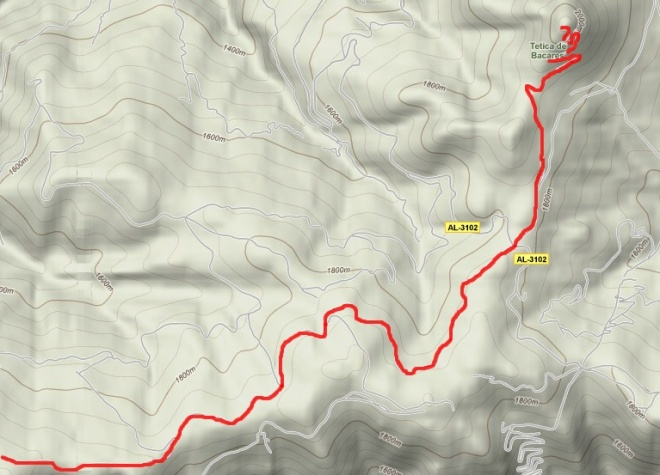 Mapa del segundo tramo de la ruta Calar Alto a Tetica de Bacares