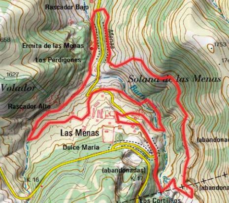 Mapa Senda Las Menas