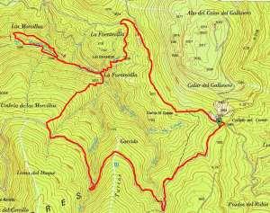 Mapa de la ruta del Barranco de Las Morcillas