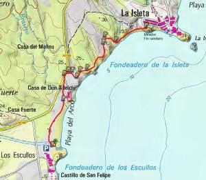 Mapa sendero Escullos - Isleta del Moro