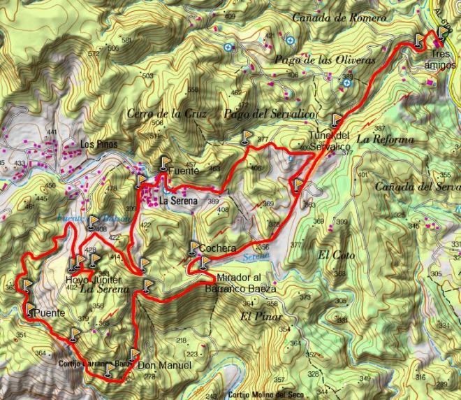 Mapa SL-A 77 Ruta de la Minería