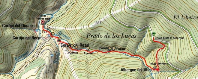 Mapa sendero cortijo del Rosal