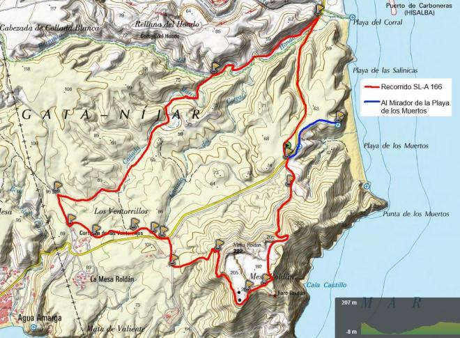 Mapa SL-A 166 Rambla del Hondo - Mesa Roldán