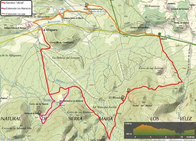 Mapa del Sendero del Pinar de Alfahuara