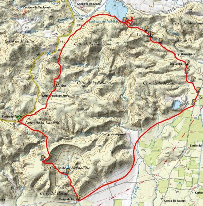 Mapa ruta del Embalse de Isabel II - Cráter de la Granatilla