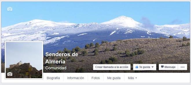 Portada de Senderos de Almería en Facebook