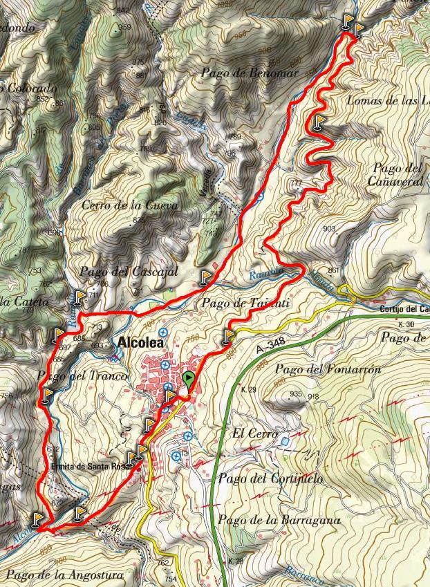 Mapa sendero Alcolea El Castillejo (PR-A 297)