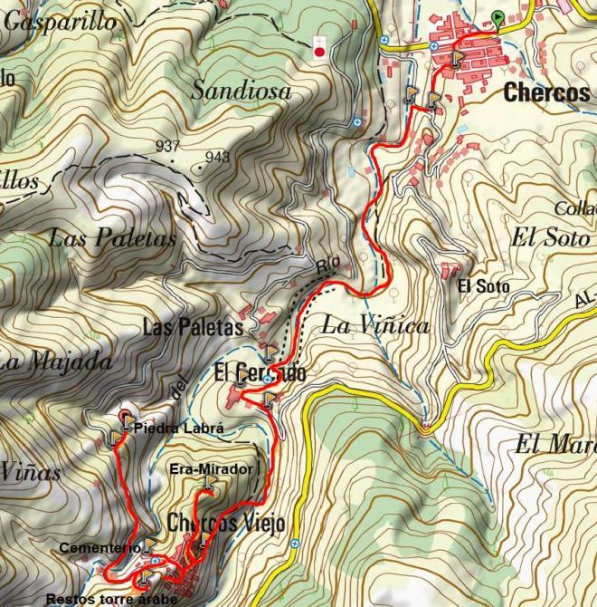 Mapa de Chercos Nuevo a Chercos Viejo