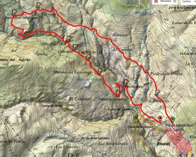 Mapa sendero Río Chico