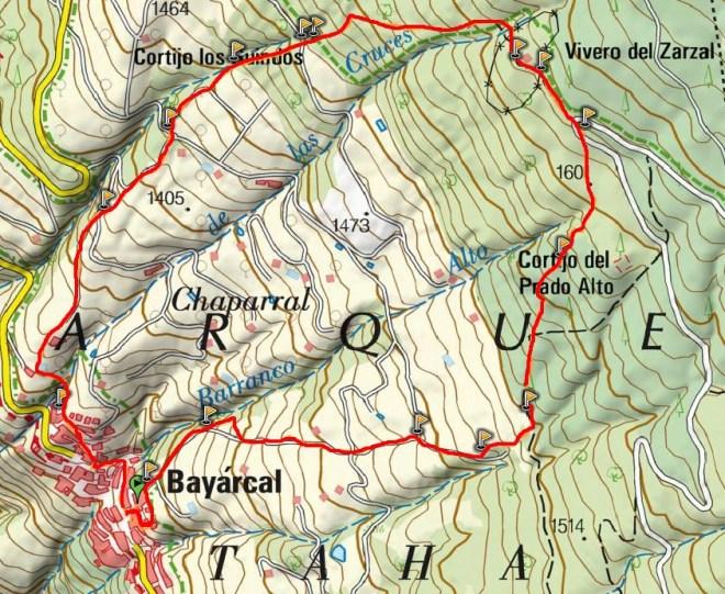 Mapa del Sendero de Prado Alto