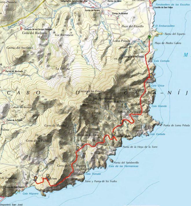 Mapa del Sendero de Loma Pelada
