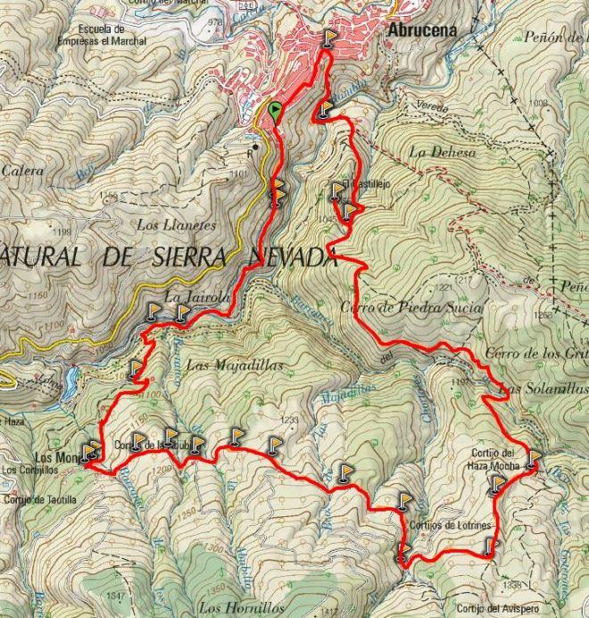 Mapa Sendero La Jairola - El Castillejo (PR-A 303)