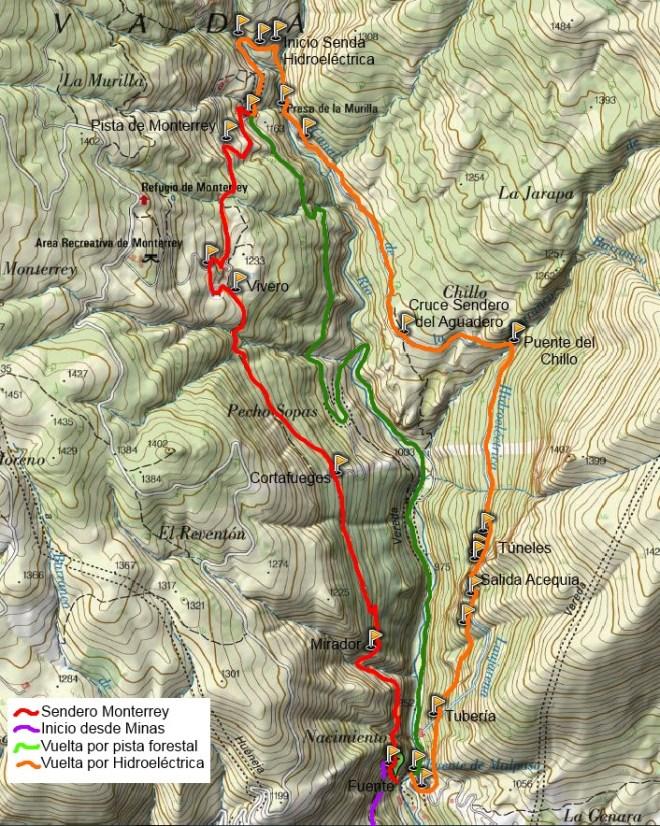 Mapa sendero de Monterrery (PR-A 35)