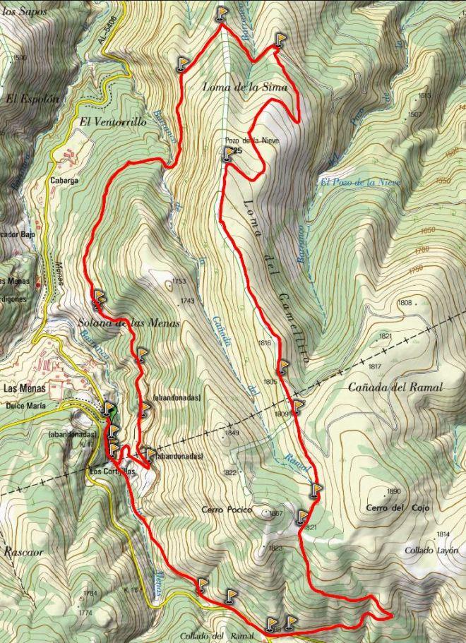 Mapa Las Menas - Pozo de las Nieves