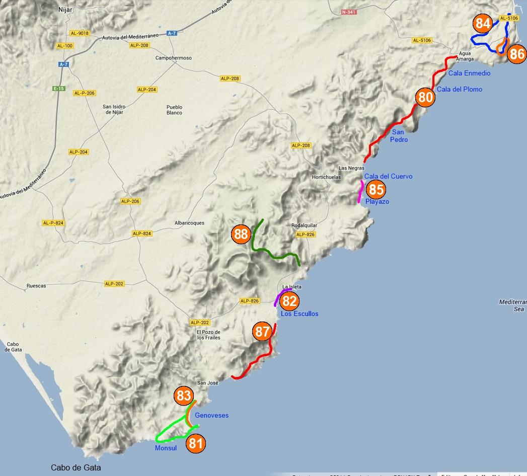 Cabo De Gata Mapa.Cabo De Gata Senderos De Almeria