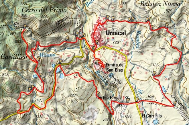 Mapa del Sendero de los Molinos de Urrácal (PR-A 300)