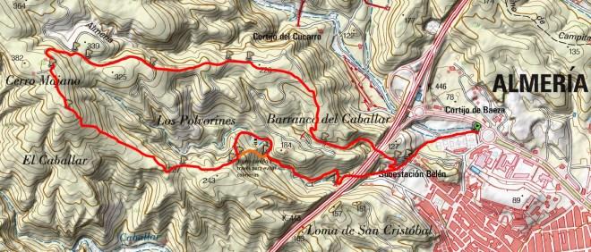 Mapa subida al Cerro Majano