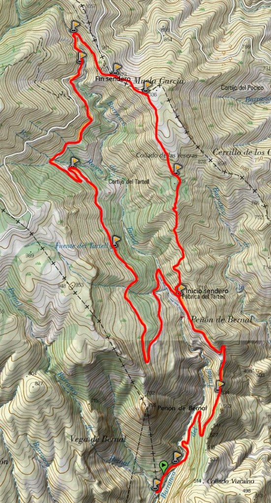 Mapa ruta por Barranco del Tartell