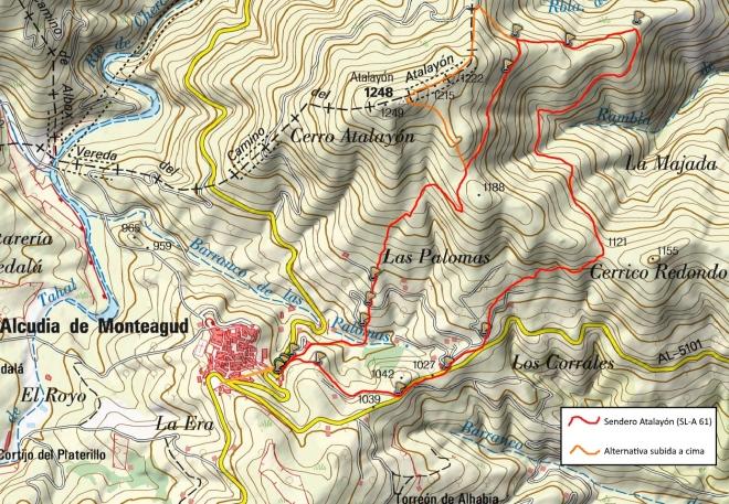 Mapa del Sendero Atalayón (SL-A 61)
