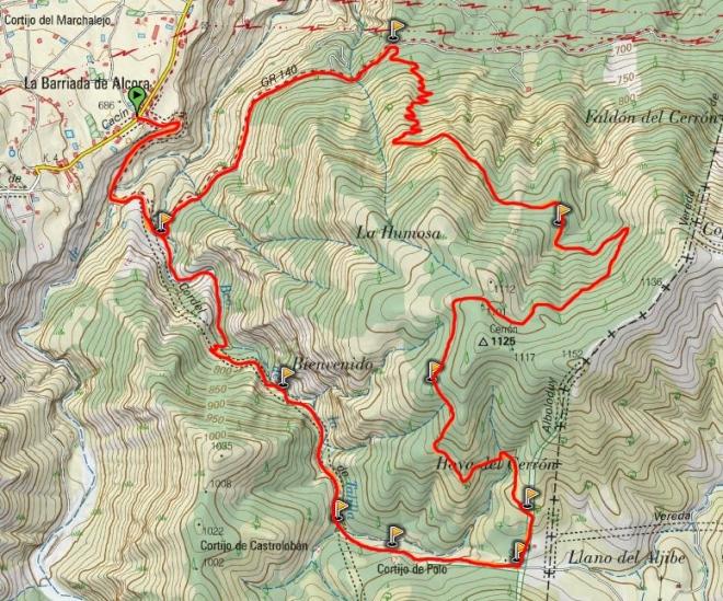 Mapa ruta Barriada de Alcora - Cerrón