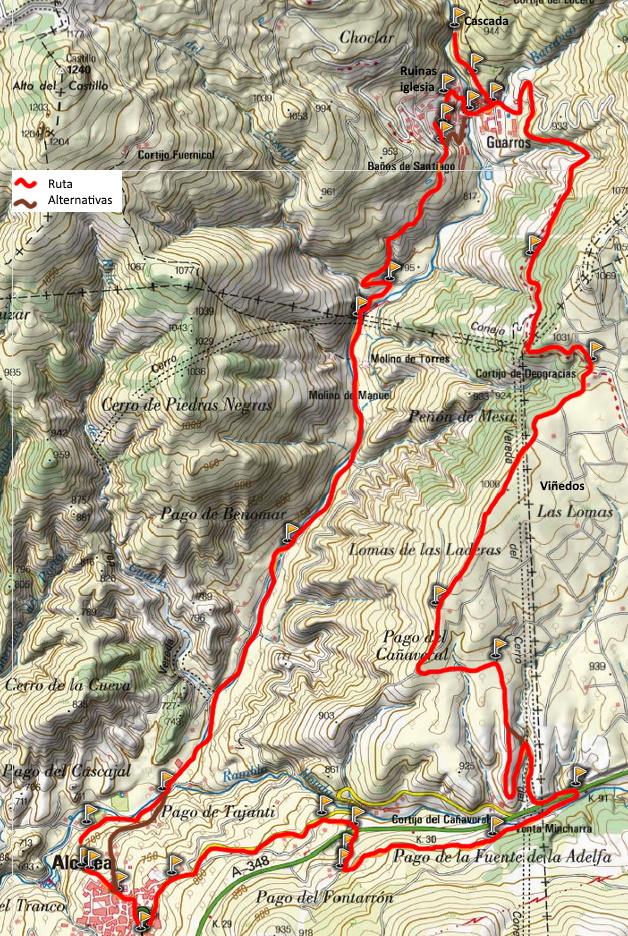 Mapa ruta Alcolea Guarros