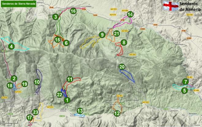 Mapa de senderos de Sierra Nevada almeriense