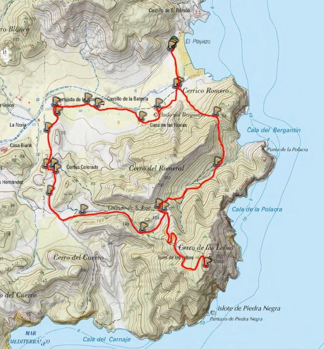 Mapa ruta del Playazo al Cerro de los Lobos