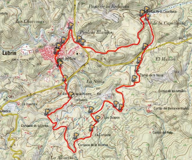 Mapa ruta Almendros en flor de Lubrín