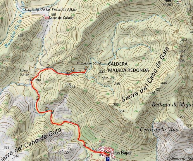 Mapa Sendero Caldera de Majada Redonda