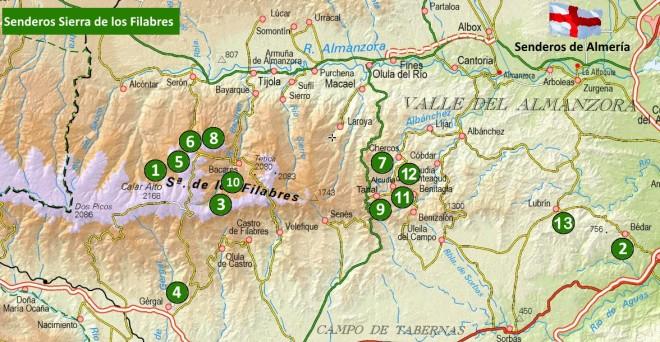 Mapa de senderos de la Sierra de los Filabres