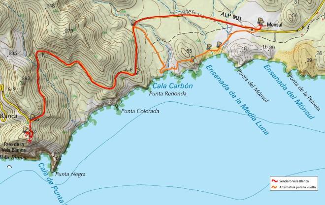 Mapa del Sendero Vela Blanca