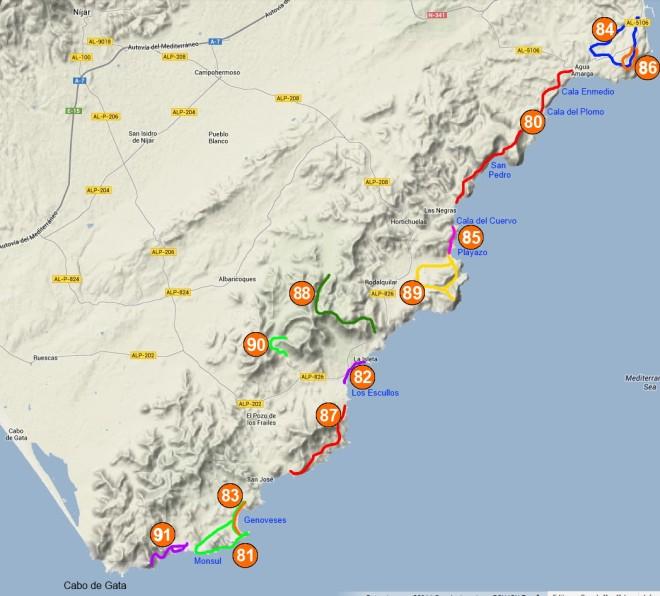 Mapa de senderos de Cabo de Gata